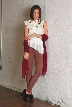 Fall 2013 Denim Trend: Turn It On (AG Adriano Goldschmied's cotton and elastane jacquard jeans and Rubin Singer's embellished silk top. Dianora Salviati scarf; Heather Benjamin cuffs and rings; Tory Burch shoes.)
