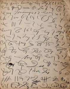 Madge Gill. Automatic writing: 'words' which, it is claimed, have originated from a supernatural source. These are written by a method other than the normal physical process of writing.