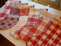 Christmas stockings made from vintage kitchen tablecloths Country Christmas, All Things Christmas, Winter Christmas, Vintage Christmas, Merry Christmas, Christmas Sewing, Christmas Projects, Holiday Crafts, Christmas Ideas