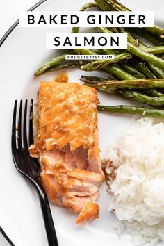 Topped with a quick sweet and savory glaze, this Baked Ginger Salmon is a fast, easy, and delicious way to prepare salmon. Budgetbytes.com Salmon Recipes, Seafood Recipes, New Recipes, Cooking Recipes, Healthy Recipes, Weekly Recipes, Budget Cooking, Shellfish Recipes, Budget Recipes