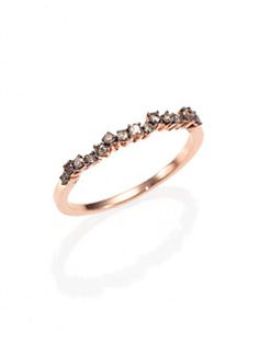 KALAN by Suzanne Kalan - Champagne Diamond & 14K Rose Gold Wavy Cluster Ring