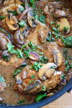 Skillet Pork Chops with Mushroom Sauce by SimplyGloria.com #mushrooms