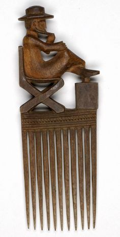 DR Congo Chokwe people wood comb, ca 1925 Afro Comb, Afro Pick, Tribal Hair, Wood Comb, Afrique Art, Hair Jewels, African Masks, Indigenous Art, Hair Combs