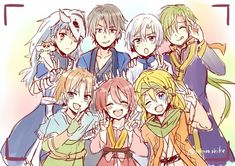 So cute! Akatsuki no Yona Yona, Hak, Yoon, Kija, Shin-Ah, Jae-Ha, Zeno and Ao.