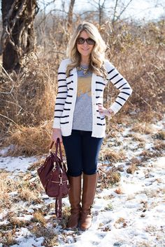 A gold elephant print tee is super cute paired with stripes...click through for my outfit details!