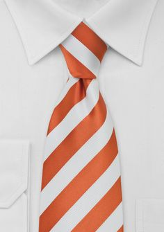 Mens Tie Bright Orange and White