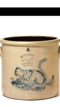 Cat and mouse crock stoneware