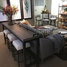 Sofa Table Decor, Couch Table, Diy Furniture Couch, Bar Table Behind Couch, Sofa Tables, Table Stools, Furniture Ideas, Furniture Design, Couch Sofa
