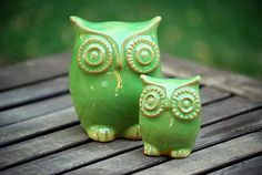 Ceramic owls home decor in spring green from Etsy Shop claylicious ($45)