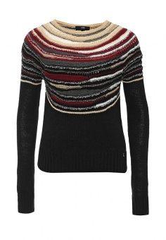 Джемпер oodji, цвет: черный. Артикул: OO001EWKMP70. Женская одежда / Джемперы и кардиганы