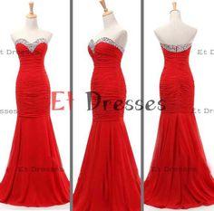 Slight mermaid sheath sweetheart red chiffon bridesmaid dress ,evening dress