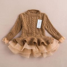 Online Cheap 2015 Autumn Winter Girls Knit Sweater Dresses Baby Girl Tulle Lace Tutu Winter Jumper Pullover Dress Princess Children Girls' Sweaters By Onlinetopshop Dhgate. Kids Outfits Girls, Baby Outfits, Kids Girls, Girls Dresses, Party Dresses, Tutu Dresses, Baby Girls, Baby Boy, Infant Dresses