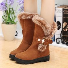 Women Boots Slip-On Soft Snow Boots Round Toe Flat Winter Fur Ankle Boots Features: quality leather material,comfortable and soft,Reduces stress on joint Fur Ankle Boots, Flat Boots, Mid Calf Boots, Heeled Boots, Shoe Boots, Camel Boots, Women's Boots, Winter Shoes For Women, Snow Boots Women