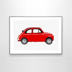 Fiat 500 1957 BIG POSTER 19x13 inches on Recycled by loscadotte