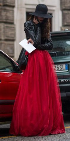 red tulle maxi skirt with leather jacket