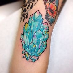 Aquamarine cluster  ✨ elbow • #aquamarine #crystal #tattoo