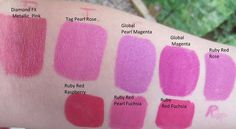 Jest paint || pink paint swatches Pearl Rose, Red Raspberry, Paint Supplies, Paint Swatches, Metallic Pink, Ruby Red, Quilting Projects, Face And Body, Body Painting
