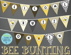 """This pennant banner will look just darling outside your room! This PDF contains 9 pages (18 triangles total) and spells out """"Welcome Buzz On In"""" with 3 separator triangles with cute bees or hives to space out the words.Print on card stock, laminate, and cut out, Then, punch holes in the top two corners and string yarn or ribbon through."""