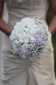 A beautiful combination of flowers and bling, perhaps something old and something new!