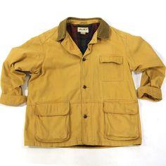 80s Eddie Bauer Field Jacket / Vintage 1980 Canvas Hunting Jacket Barn Coat Sportsman Flannel Lining Corduroy Collar Cargo Pocket Mens Large by SpunkVintage on Etsy