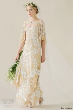 rue de seine wedding dress 2015 bridal off the shoulder draped sleeve beaded nude mesh column gown dahlia
