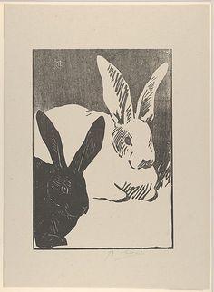 Henri-Charles Guérard (French, 1846–1897). Rabbits (from L'Estampe Originale…