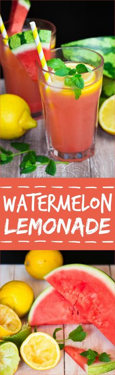 This watermelon lemonade is perfect for hot summer days! It's ready to drink in no time and it's so delicious! #watermelon #lemonade #recipe #summerdrinks #drinks #homemade