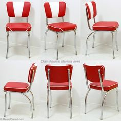 V-Back Diner Seating - Kitchen Dinette / Dining Room Chairs - Shown in Red http://www.retroplanet.com/PROD/14448