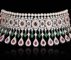 Diamond Necklace Diamond-necklaces-burmese-ruby-emerald-and-diamond-choker-highjewelry-pearlstrands-diamondeckl Dimond Necklace, Diamond Pendant Necklace, Drop Earrings, Royal Jewelry, Ruby Jewelry, Diamond Jewelry, India Jewelry, Women's Jewelry, Luxury Jewelry