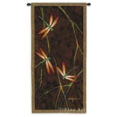 27x53 OCTOBER SONG I Dragonfly Nature Tapestry Wall Hanging