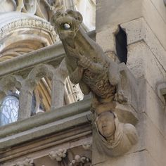 [Notre-Dame de Paris] Gargoyles and Chimera. Notre-Dame's gargoyles are very famous! I'm sure you've heard of them before. But do you know what they're used for? They were built into the ends of the gutters to drain rainwater off the roof; since the gargoyles extend far off the side of the roof, the litres of rainwater from storms fall far from the walls to prevent damage.