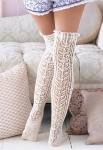 White knit thigh highs #whitetights #whitesocks