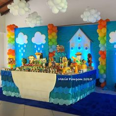 Maria Pompom 's Birthday / Birthday - Photo Gallery at Catch My Party Spa Birthday Parties, Kids Birthday Themes, Baby First Birthday, Birthday Party Decorations, Baby Boy Baptism, Baptism Party, Christian Baby Shower, Noahs Ark Party, Safari Decorations