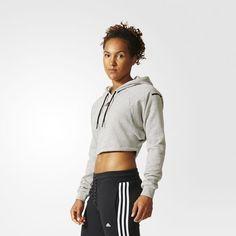 adidas - Sweatshirt i kort modell med huva
