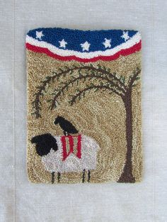 Primitive Punch Needle KIT ~ Sheep - Willow Tree - Crow - Patriotic folk art - Fourth of July - American flag -punchneedle paper pattern Primitive Embroidery, Folk Embroidery, Paper Embroidery, Learn Embroidery, Embroidery Patterns, Floral Embroidery, Embroidery Stitches, Punch Needle Kits, Punch Needle Patterns