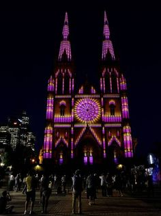 "SYDNEY, AUSTRALIA | The ""Lights of Christmas"" are featured at Saint Mary's Cathedral"