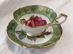 Paragon Fine Bone China Cup & Saucer Large Rose Green With Gold Edging