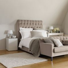 deep buttoned headboard and gorgeous shades of taupe for the contemporary bedroom - Carlton Side Table from The White Company