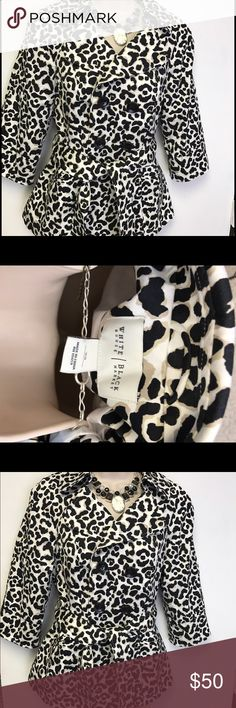 White House Black Market leopard jacket Beautiful 3/4 arms, quality stitching, great with jeans or dress pants. Fun jacket! White House Black Market Jackets & Coats Blazers