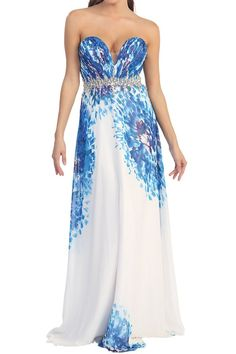 Printed plunging sweetheart neckline, with rhinestone embellished waistline maxi gown. Features Blue Abstract print Plunging Sweetheart neckline Rhinestone embellished banded waist Zip Closure Floor length Occasion Cocktail Evening Wear  #maxigown #newarrivals #formalwear #cocktail #dresses #embellished  www.divasego.com