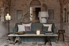Breathtaking rustic Italian farmhouse with a mix of modern and ancient - found on Hello Lovely Studio Rustic Floor Lamps, Mediterranean Living Rooms, Mediterranean Sea, Italian Home Decor, Italian Farmhouse Decor, Italian Interior Design, Farmhouse Interior, Farmhouse Style, Stone Flooring