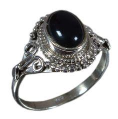 925 Solid Sterling Silver Ring Natural Black Onyx Gemstone US Size 6.25 JSR-1335 #Handmade #Ring