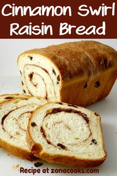 Homemade Cinnamon Swirl Raisin Bread is full of plump raisins and spiced with sweet sugar and cinnamon. Its perfect as toast slathered with butter. This recipe makes one loaf and can be frozen. Bread Maker Recipes, Tasty Bread Recipe, Healthy Bread Recipes, Bakery Recipes, Banana Bread Recipes, Brunch Recipes, Breakfast Recipes, Entree Recipes, Breakfast Ideas