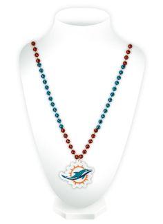 Miami Dolphins Mardi Gras Beads with Medallion