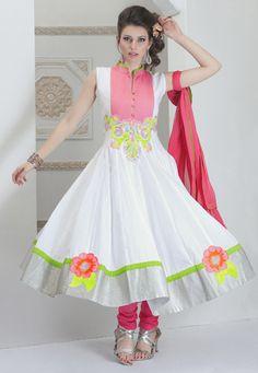 White Cotton Anarkali Churidar Kameez @ $223.00