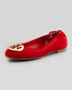 Reva obsessed....Reva Suede Logo Ballerina Flat, Red by Tory Burch at Neiman Marcus.