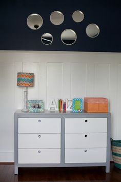 Project Nursery - Orange, Gray and Blue Nursery - Project Nursery and Cody Dresser by Newport Cottages