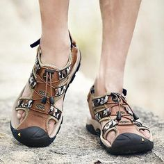 022e6654efe2b9 Mens Genuine Leather Hook Loop Anti-collision Outdoor Sandals
