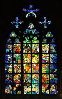 Stained-glass Window designed by Mucha at St. Vitus Cathedral, Prague (Early 1930s)