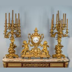 Buy online, view images and see past prices for An Important Monumental Gilt Bronze Clockset with Putti Playing with Flower Garlands. Invaluable is the world's largest marketplace for art, antiques, and collectibles. Old Clocks, Antique Clocks, Antique Chandelier, Chandeliers, Home Clock, French Clock, Retro Clock, Flower Garlands, Oil And Gas